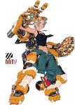 1girl camisole clenched_hand dark_skin dog_tags exoskeleton green_eyes highres jumpsuit_around_waist mecha mechanical_arm mechanical_legs nanora original science_fiction short_hair silver_hair solo white_background