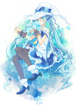 1girl aqua_eyes aqua_hair cape hat hatsune_miku high_heels highres kaya_wong long_hair looking_at_viewer pantyhose sitting skirt snowflakes solo twintails very_long_hair vocaloid wand witch_hat yuki_miku