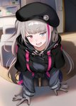 1girl bangs beret black_headwear black_legwear blue_eyes commentary_request eyebrows_visible_through_hair girls_frontline gloves green_hair hat heterochromia highres indoors jacket leaning_forward long_hair long_sleeves looking_at_viewer mdr_(girls_frontline) multicolored_hair open_mouth pantyhose pink_hair red_eyes solo streaked_hair tactical_clothes tobimura