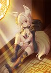 1girl animal_ear_fluff animal_ears bangs black_legwear blade_&_soul blush closed_mouth collarbone commentary_request dress dressing eyebrows_visible_through_hair fox_ears fox_girl fox_tail hair_ornament head_tilt highres hyonee knee_up looking_at_viewer lyn_(blade_&_soul) no_shoes on_floor red_eyes silver_hair sitting smile soles solo sunlight tail thighhighs thighhighs_pull white_dress window wooden_floor