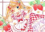 1girl apron aqua_eyes bangs blonde_hair blush bow breasts collarbone commentary cowboy_shot criss-cross_halter dress eyebrows_visible_through_hair flower food food_themed_hair_ornament fork fork_hair_ornament frilled_dress frills fruit hair_flower hair_ornament halterneck hand_up hat heart heart-shaped_pupils highres holding holding_food holding_fruit long_hair looking_at_viewer marker_(medium) one_eye_closed original parted_lips plaid plaid_dress puffy_short_sleeves puffy_sleeves puu_(kari---ume) red_bow red_dress ribbon-trimmed_clothes ribbon_trim short_sleeves sidelocks skirt_hold small_breasts solo spoon spoon_hair_ornament strawberry strawberry_blossoms strawberry_hair_ornament symbol-shaped_pupils symbol_commentary traditional_media twintails white_apron white_background white_flower