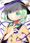 1girl absurdres arms_up black_headwear blouse blurry commentary_request depth_of_field eyebrows_visible_through_hair frilled_shirt_collar frilled_sleeves frills green_eyes green_hair green_nails gunjou_row hair_between_eyes hat highres komeiji_koishi long_sleeves looking_away nail_polish parted_lips short_hair simple_background solo standing tears third_eye touhou upper_body water_drop white_background wide-eyed yellow_blouse