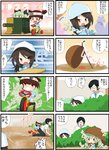 4koma anchovy basket black_hair brown_hair carrot comic drill_hair eating girls_und_panzer glasses green_hair hat highres instrument jinguu_(4839ms) kantele kindergarten_uniform logo mika_(girls_und_panzer) mikko_(girls_und_panzer) multiple_4koma necktie opaque_glasses orange_eyes short_twintails stick tricycle tsuji_renta twin_drills twintails younger