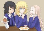 3girls andou_(girls_und_panzer) bangs bc_freedom_school_uniform black_hair black_vest blonde_hair blue_eyes blue_neckwear blue_sweater brown_background brown_eyes cardigan chin_rest closed_eyes commentary dark_skin desert diagonal_stripes dress_shirt drill_hair elbow_rest facing_another feeding forehead fork girls_und_panzer hand_on_another's_shoulder holding long_hair long_sleeves looking_at_another marie_(girls_und_panzer) medium_hair messy_hair multiple_girls mutsu_(layergreen) necktie open_mouth oshida_(girls_und_panzer) plate red_neckwear school_uniform shirt simple_background sitting smile striped striped_neckwear sweater sweater_around_neck table vest white_shirt wing_collar