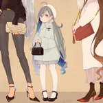 3girls ahoge alternate_costume bag beret black_footwear black_legwear brown_background brown_hair coat colis commentary full_body goat grey_coat grey_eyes grey_hair hair_between_eyes hair_bun handbag hat head_out_of_frame height_difference high_heels holding holding_bag kantai_collection kiyoshimo_(kantai_collection) long_hair long_sleeves looking_at_viewer low_twintails mary_janes multiple_girls musashi_(kantai_collection) nail_polish pants pantyhose pleated_skirt red_footwear shoes skirt solo_focus standing twintails white_hat white_legwear white_skirt yamato_(kantai_collection)