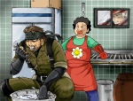 ! 1girl 2boys apron bandana beard beret big_boss eating facial_hair fish gloves hat kitchen metal_gear_(series) metal_gear_solid metal_gear_solid_3 military military_uniform multiple_boys naked_snake refrigerator revolver_ocelot sibauchi stabo_harness surprised uniform
