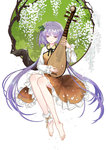 1girl ankle_cuffs bare_legs barefoot biwa_lute dress flower full_body hair_flower hair_ornament instrument long_hair long_sleeves lute_(instrument) music petals playing_instrument purple_eyes purple_hair seeker smile solo touhou tsukumo_benben twintails very_long_hair