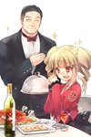 +_+ 1boy 1girl ^_^ alcohol beelzebub black_hair blonde_hair bow bowtie closed_eyes cup drill_hair drinking_glass drooling food fork formal gouda_toshirou hand_on_own_chest hands_clasped necktie open_mouth own_hands_together pink_neckwear plate red_eyes smile sparkle stakes_of_purgatory suit turkey_(food) twin_drills twintails umineko_no_naku_koro_ni wanko_(takohati8) wine wine_glass