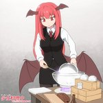 1girl black_legwear black_skirt black_vest bowl box breasts collared_shirt commentary_request container demon_core demon_wings erlenmeyer_flask eyebrows_visible_through_hair feet_out_of_frame flask gradient gradient_background grey_background head_wings holding holding_screwdriver koakuma long_hair long_sleeves looking_down medium_breasts necktie pantyhose partially_translated pencil_skirt plank pun red_eyes red_hair red_neckwear screwdriver shirosato shirt shoujo_kitou-chuu sidelocks skirt skirt_set slit_pupils solo standing table touhou translation_request vest white_shirt wing_collar wings