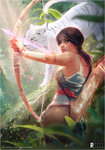 1girl blood blue_eyes bow_(weapon) brown_hair forest from_behind jungle lara_croft md5_mismatch nature over_shoulder plant ponytail ross_tran sunlight tank_top tattoo tiger tomb_raider tree weapon white_tiger