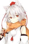 1girl albino animal_ears detached_sleeves hasunokaeru hat highres inubashiri_momiji long_sleeves looking_at_viewer pom_pom_(clothes) red_eyes scarf shirt simple_background smile solo string tokin_hat touhou upper_body white_background white_hair wide_sleeves wolf_ears