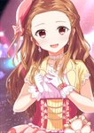 1girl :d blurry blurry_background bow brown_hair collarbone corset earrings gloves hat hat_bow highres idolmaster idolmaster_cinderella_girls idolmaster_cinderella_girls_starlight_stage jewelry long_hair necklace open_mouth ototsu_kei pink_bow pink_hat red_eyes seki_hiromi smile solo standing upper_body white_gloves