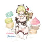 1girl alternate_costume apron black_bow black_panties bow breasts cherry cleavage cravat cupcake elsword enmaided food fruit full_body garter_belt garter_straps green_eyes green_hair hair_bow kneeling large_breasts long_hair looking_at_viewer macaron maid maid_headdress mal_poi open_mouth panties pointy_ears ponytail rena_erindel simple_background smile solo thigh_strap thighhighs thighs underwear white_apron white_background white_legwear white_neckwear