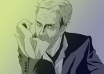 1boy bad_id bad_pixiv_id facial_hair formal gradient gradient_background green_theme gregory_house house_m.d. male_focus monochrome mouth_hold purple_theme solo stubble