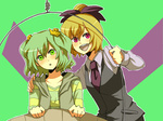 2girls akasata alternate_costume bad_id bad_pixiv_id blonde_hair blush bow collarbone contemporary green_eyes green_hair hair_bow kisume kurodani_yamame long_sleeves multiple_girls necktie open_mouth pink_eyes puffy_sleeves shirt short_hair simple_background striped striped_shirt touhou twintails two-tone_background