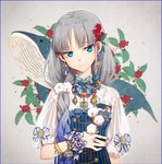 1girl animal bangs blue_bow blue_dress blue_eyes blue_hair blue_nails bow breasts closed_mouth commentary dress earrings eyebrows_visible_through_hair fingernails flower gradient_hair grey_hair hair_flower hair_ornament hakusai_(tiahszld) head_tilt holding holding_flower jewelry mole mole_under_eye multicolored_hair nail_polish original puffy_short_sleeves puffy_sleeves see-through see-through_sleeves shirt short_sleeves small_breasts solo striped symbol_commentary vertical-striped_dress vertical_stripes whale white_bow white_flower white_shirt
