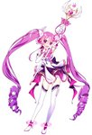 1girl :d arm_up armpits bangs boots dress drill_hair elsword floating_hair full_body gloves hair_between_eyes head_tilt high_heel_boots high_heels holding holding_staff index_finger_raised long_hair metamorphy_(elsword) open_mouth pink_eyes pink_hair short_dress simple_background sleeveless sleeveless_dress smile solo staff standing thigh_boots thighhighs twin_drills twintails very_long_hair white_background white_footwear white_gloves