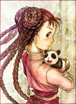 1girl braid brown_eyes brown_hair fullmetal_alchemist long_hair looking_back may_chang panda parhart profile traditional_media watercolor_(medium)