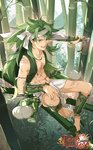 1boy :d abs animal_request bamboo bamboo_forest barefoot bracer forest gourmet_kizuna green_eyes green_hair headband highres loincloth looking_at_viewer machete male_focus muscle nature official_art open_mouth outdoors over_shoulder scar sitting smile solo watermark white_headband