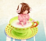 1girl animal_ears bad_id bad_pixiv_id bunny_ears cup in_container in_cup inaba_tewi minigirl red_eyes short_hair solo suzutou tail tears touhou