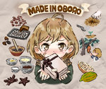 1girl ahoge baking_sheet bandaged_fingers bandages bandaid_on_cheek blush bow bowl brown_bow brown_eyes brown_hair brown_ribbon cacao_fruit chocolate chocolate_making cocoa_bean cooking crab english_text gift grey_background ingredients jacket kantai_collection looking_at_viewer mortar oboro_(kantai_collection) otoufu pestle picking_fruit planting progression ribbon scarf seedling short_hair solo star tray tree watering_can