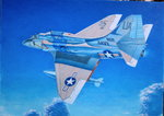 1boy a-4_skyhawk absurdres acrylic_paint_(medium) aircraft airplane blue_sky calligraphy_brush_(medium) cloud commentary_request day flying hayashi_toshihiro highres military original outdoors photo scenery sky solo traditional_media