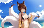 1girl animal_ears beach bikini breasts brown_hair cleavage fox_ears fox_girl fox_tail girls_frontline highres jacket jewelry looking_at_viewer multiple_tails necklace off_shoulder red_eyes sidelocks smile solo swimsuit tail type_79_(girls_frontline) xiaobai_(cheng_pan)