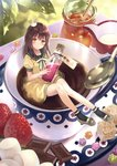 1girl absurdres blush braid brown_eyes brown_hair candy chocolate_bar coffee coffee_mug creamer_(vessel) crown cup food from_above fruit fukahire_(ruinon) half_updo head_tilt highres holding honey in_container in_cup jar konpeitou long_hair looking_at_viewer marshmallow mini_crown minigirl mug original pitcher scan shirt short_sleeves skirt smile solo spoon strawberry sugar_cube yellow_shirt yellow_skirt