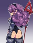 1girl armor ass black_hairband black_leotard disgaea expressionless fukurou_(owl222) hairband heavy_knight_(disgaea) highres holding holding_spear holding_weapon leotard long_hair pointy_ears polearm purple_background purple_eyes purple_hair shiny shiny_skin simple_background solo spear thighhighs weapon