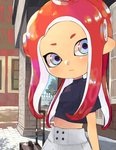 1girl arms_at_sides black_shirt blue_eyes commentary_request day flat_chest highres kinagi_(3307377) long_hair luggage midriff navel octarian octoling outdoors pillar pointy_ears red_hair road shirt skirt solo splatoon splatoon_1 splatoon_2 standing street tentacle_hair tree upper_body white_skirt window