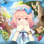 1girl adapted_costume animal bracelet butterfly cherry_blossoms covering_mouth faux_traditional_media flower hat japanese_clothes jewelry nail_polish nature pink_eyes pink_hair saigyouji_yuyuko short_hair siam_(meow13) solo squirrel touhou tree