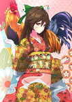 1girl bird blush bow brown_hair chicken chinese_zodiac cowboy_shot floral_print furisode green_bow hair_between_eyes hair_bow hair_ornament hair_stick highres japanese_clothes kimono long_hair looking_at_viewer multicolored multicolored_clothes multicolored_kimono new_year no_wings obi red_eyes reiuji_utsuho rooster sash sidelocks smile solo tiny_taiga touhou unmoving_pattern wide_sleeves year_of_the_rooster