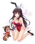 1girl animal_ears bangs bare_shoulders black_footwear black_hair breasts bunny_ears detached_collar fishnet_legwear fishnet_pantyhose fishnets full_body high_heels highres iris_yuma large_breasts leotard long_hair looking_at_viewer nail_polish pantyhose red_leotard red_nails shoes simple_background sitting smile solo sonko1015 soul_worker tiara wariza white_background wrist_cuffs