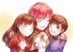 1boy 2girls altenna_(fire_emblem) brother_and_sister brown_hair cloak closed_eyes ethlin_(fire_emblem) european_clothes fire_emblem fire_emblem:_seisen_no_keifu hug leaf_(fire_emblem) mother_and_daughter mother_and_son multiple_girls siblings smile yukimiyuki