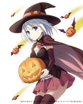1girl blue_eyes cape date_a_live detached_sleeves hair_ornament hairclip hat head_wings jack-o'-lantern konoe_(vis9191) light_smile looking_at_viewer official_art pumpkin short_hair skirt solo thighhighs tobiichi_origami witch_hat zettai_ryouiki