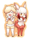 2girls ^_^ alpaca_ears alpaca_suri_(kemono_friends) alpaca_tail animal_ears bangs beige_footwear beige_shorts beige_vest bird_tail bird_wings black_footwear blonde_hair blunt_bangs blush boots buttons chibi closed_eyes cup drinking expressionless eyebrows_visible_through_hair eyelashes frilled_sleeves frills full_body fur-trimmed_boots fur-trimmed_sleeves fur_collar fur_trim gloves gradient_hair gradient_ribbon hair_bun hair_ornament hair_over_one_eye hair_ribbon head_wings hitec holding holding_cup japanese_crested_ibis_(kemono_friends) japari_symbol jitome kemono_friends long_sleeves mary_janes multicolored multicolored_background multicolored_hair multiple_girls neck_ribbon no_nose open_mouth orange_background pantyhose pleated_skirt red_gloves red_hair red_legwear red_ribbon red_skirt ribbon shirt shoe_ribbon shoes short_hair short_hair_with_long_locks sidelocks simple_background skirt smile standing swept_bangs tail teacup tress_ribbon two-tone_background two-tone_hair vest white_background white_hair white_legwear white_ribbon white_shirt wide_sleeves wings yellow_eyes yellow_ribbon |d