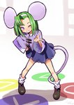 1girl ;) animal_ears bent_over black_footwear brave_fencer_musashiden capelet circle collared_shirt full_body green_hair hairband hand_on_hip index_finger_raised io_naomichi legs_apart long_sleeves loose_socks mouse_ears mouse_girl mouse_tail one_eye_closed purple_capelet purple_eyes purple_shirt shirt shoes short_hair single_hair_intake smile solo square standing tail topo_(musashiden) triangle white_hairband white_legwear wide_sleeves