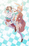 1boy 1girl alice_(wonderland) alice_(wonderland)_(cosplay) alice_in_wonderland animal_ears apron bad_id bad_pixiv_id barnaby_brooks_jr blonde_hair brown_hair bunny_ears bunny_tail checkered checkered_background coat cosplay dress glasses kaburagi_kaede one_side_up pantyhose pocket_watch red_eyes side_ponytail striped striped_legwear tagu tail tiger_&_bunny watch white_rabbit white_rabbit_(cosplay) yellow_eyes