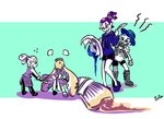 1girl 3boys :p angry apron artist_name beauty_(zoza) blue_eyes blue_hair boots brown_eyes butler clothes_grab cookie_(zoza) domino_mask donut_(zoza) dress dress_grab flower flying_sweatdrops fume girly_boy hat hat_flower inkbrush_(splatoon) inkling layered_clothing lollipop_(zoza) long_hair long_sleeves maid maid_headdress mask multiple_boys neckerchief octobrush_(splatoon) pants pointy_ears purple_hair quill sailor_collar scrunchie shirt shoes short_hair short_over_long_sleeves short_sleeves signature single_vertical_stripe splatoon splatoon_1 standing sweatdrop t-shirt tentacle_hair tongue tongue_out white_hair zoza