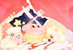 chef_hat commentary_request curtains food fork hat kananishi kirby kirby_(series) kirby_cafe knife night night_sky open_mouth pancake pastel_colors polka_dot sky smile sparkling_eyes star striped syrup whipped_cream
