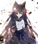 1girl absurdres animal animal_ear_fluff animal_ears arcaea backlighting bangs black_bow black_capelet black_dress blue_bow blush bow capelet cat_ears cat_girl cat_tail closed_mouth commentary_request dress eyebrows_visible_through_hair flower grey_eyes hair_between_eyes hair_bow hair_flower hair_ornament highres holding holding_animal kemonomimi_mode light_smile long_sleeves red_bow red_flower red_rose rose simple_background solo tail tairitsu_(arcaea) tandohark white_background white_flower white_rose
