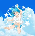 (9) 1girl alternate_costume bare_legs barefoot berry_jou blue_eyes blue_hair blue_panties blue_sky bow cirno clothes_writing cloud day hair_bow ice ice_wings no_pants one_eye_closed open_mouth panties shirt short_sleeves sky smile solo star striped striped_panties touhou underwear wings