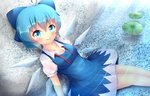 1girl blue_dress blue_eyes blue_hair blush bow cirno collarbone dress hair_bow ice ice_wings kane-neko looking_at_viewer shirt short_sleeves sitting smile solo touhou water wings