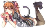 1girl ahoge alternate_costume animal_ears black_legwear blush box brown_hair cat_ears cat_tail chocopenguin commentary_request enmaided full_body hair_between_eyes heart-shaped_box little_busters! long_hair looking_at_viewer lying maid maid_headdress natsume_rin on_stomach ponytail puffy_short_sleeves puffy_sleeves short_sleeves solo tail thighhighs