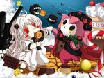2girls ahoge airplane blurry blush_stickers bullet bullet_bill cake cameo candy candy_cane charlotte_(madoka_magica) chibi chocolate_bar cookie crossover depth_of_field dress eating food holding horns kantai_collection kokutou_(mimikinngu) lollipop long_hair mahou_shoujo_madoka_magica multiple_girls northern_ocean_hime open_mouth orange_eyes pink_hair pudding shinkaisei-kan super_mario_bros. turret white_dress white_hair white_skin