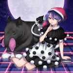 13_(spice!!) 1girl ankle_boots arm_support blue_eyes blue_hair book boots capelet checkered checkered_floor doremy_sweet dream_soul dress eating finger_to_mouth full_moon fur_trim hat highres looking_at_viewer moon night night_sky nightcap parted_lips pom_pom_(clothes) short_hair sitting sky solo star_(sky) starry_sky tail tapir tapir_tail touhou white_footwear yokozuwari