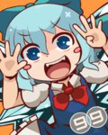 (9) 1girl :d bad_id bad_pixiv_id blue_bow blue_eyes blue_hair bow cirno dress fangs hair_bow ice ice_wings nagomibako_(nagomi-99) open_mouth orange_background puffy_short_sleeves puffy_sleeves red_bow short_hair short_sleeves simple_background smile solo touhou wings