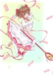 1girl :d antenna_hair arm_up blue_eyes bow breasts brown_hair card cardcaptor_sakura cleavage dress full_body gloves hair_bow kinomoto_sakura open_mouth pink_bow pink_footwear pink_ribbon ribbon seth short_hair short_twintails simple_background small_breasts smile solo staff thighhighs twintails white_dress white_gloves white_legwear