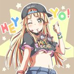1girl backwards_hat bang_dream! bangs baseball_cap black_hat black_shirt bling blonde_hair bracelet breasts character_print clothes_writing crop_top denim earrings english fancy_glasses hat headset headwear_writing jeans jewelry long_hair looking_at_viewer michelle_(bang_dream!) midriff mouth_hold navel necklace one_eye_closed outline pants paw_print pink-framed_eyewear print_shirt riai_(onsen) ring shirt short_sleeves smile solo star sunglasses thumb_ring thumbs_up tsurumaki_kokoro underboob white_outline yellow_eyes