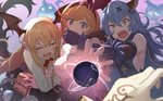 3girls animal_ears arm_hug bangs bat_wings black_gloves black_skirt blonde_hair blue_hair book breasts brown_eyes brown_hair bunny_ears clarisse_(granblue_fantasy) commentary_request detached_wings elbow_gloves empty_eyes erune eyebrows_visible_through_hair fang ferry_(granblue_fantasy) flower ghost gloves granblue_fantasy green_eyes hair_between_eyes hair_ribbon head_wings hinami_(hinatamizu) holding holding_book long_hair long_sleeves looking_at_viewer magic medium_breasts multiple_girls open_mouth orange_hair pointy_ears ponytail red_flower red_rose ribbon rose shirt sideboob skirt sleeveless sweat tears vampy wavy_hair white_shirt wings